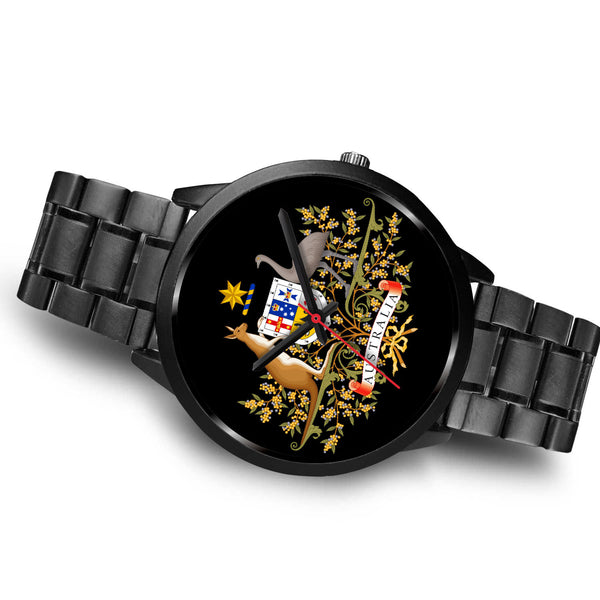 1stAustralia Watch - Australian Coat Of Arms Watch - Black - Nn0