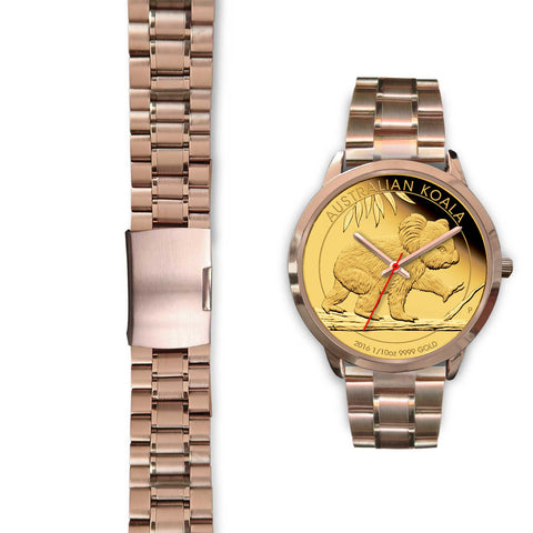 Image of Australian Koala Coin Style Rose Gold Watch