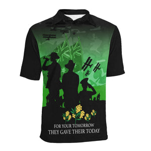 Anzac Australia Remembers Polo Shirt with Green mix Black color - Front - For Women