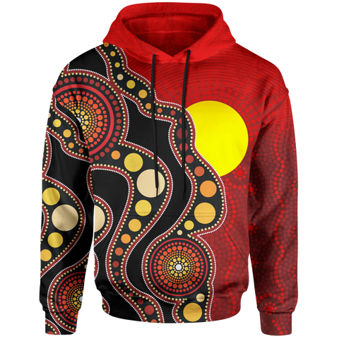 1stAustralia Aboriginal Kid Hoodie - Australia Indigenous Flag Circle Dot Painting Art (For Kids)