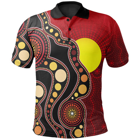 1stAustralia Aboriginal Kid Polo Shirt, Australia Indigenous Flag Circle Dot Painting Art (For Kids)