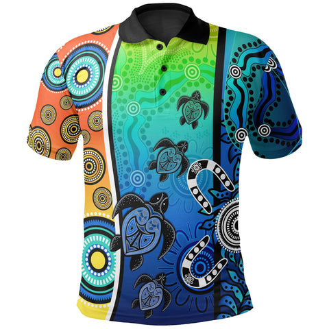 1stAustralia Aboriginal Polo Shirts  - Indigenous Turtle Dot Painting Art