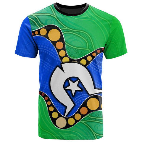 1stAustralia Torres Strait Islands T-shirt -  Flag with Aboriginal Patterns