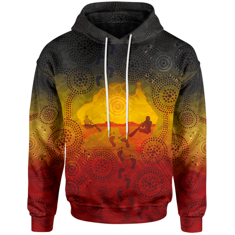 1stAustralia Aboriginal Hoodie, Australian Map with  Indigenous Color