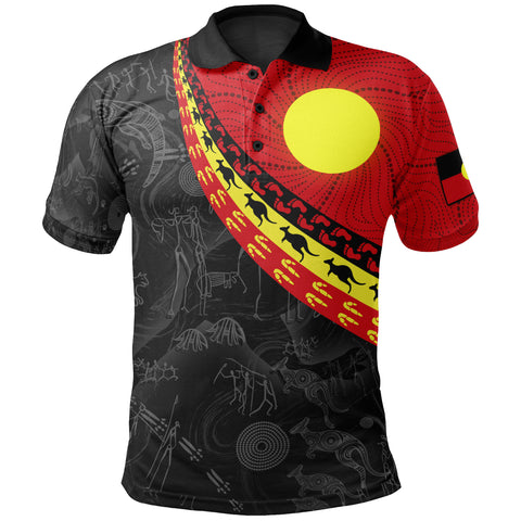 1stAustralia Aboriginal Polo Shirts, Indigenous Flag Circle Dot Painting