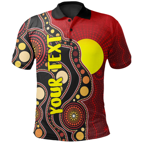 [Custom] 1stAustralia Aboriginal Polo Shirt, Australia Indigenous Flag Circle Dot Painting Art