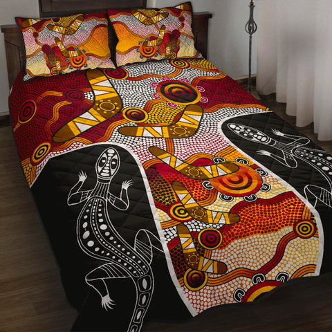 1stAustralia Quilt Bed Set - Aboriginal Dot Painting Lizard Bed Set