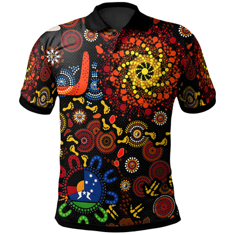 [Kid] 1stAustralia Aboriginal Polo Shirt - Indigenous Footprints