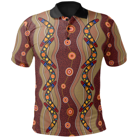 1stAustralia Polo Shirt - Aboriginal Polo Boomerang Patterns