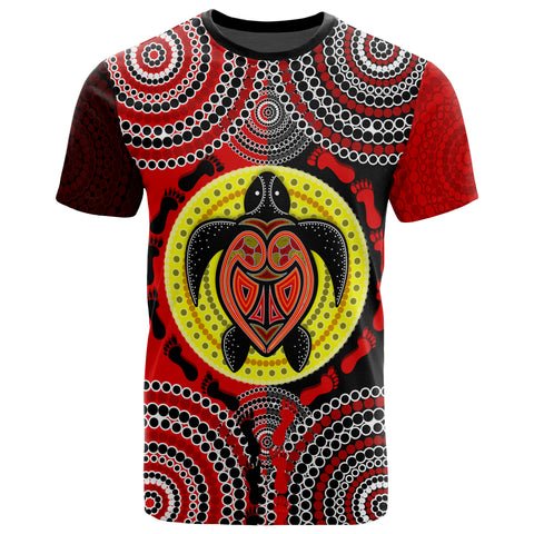 1stAustralia Aboriginal T-shirt, Turtle Footprint Circle Dot Painting