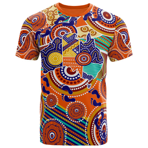 1stAustralia Aboriginal T-shirt - Australian Map Dot Painting