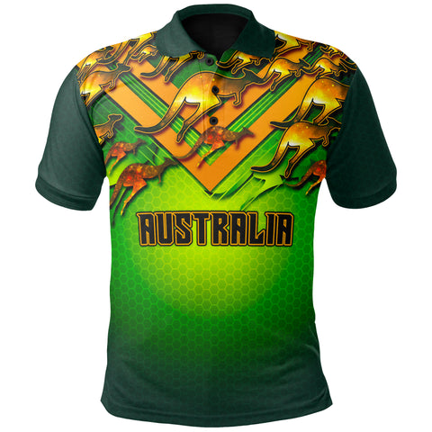 1stAustralia Polo Shirt Australian Kangaroo Polo Shirt Aussie National Colors - Unisex