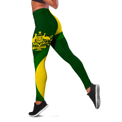 1stAustralia Leggings - Australia Coat of Arms Tight Pants National Colors - Women