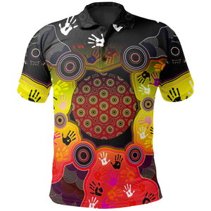 1stAustralia Aboriginal Polo Shirt, Indigenous Circle Dot Painting Hand Art