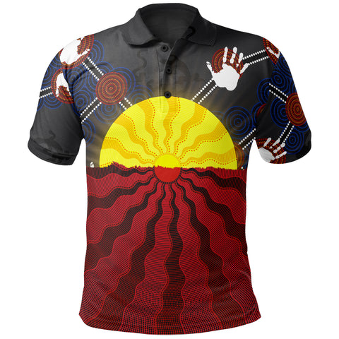 1stAustralia Aboriginal Kid Polo Shirts, Australia Indigenous Flag Sun Dot Painting(For Kid)