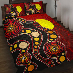 1stAustralia Aboriginal Quilt Set Cover, Australia Indigenous Flag Circle Dot Painting Art Quilt Bed Set