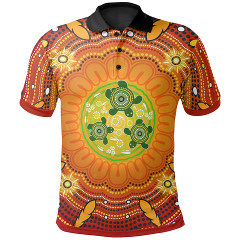 1stAustralia Aboriginal Polo Shirts , Turtle Circle Dot Painting Art