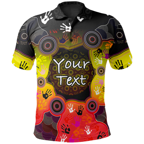 [Custom] 1stAustralia Aboriginal Polo Shirts, Indigenous Circle Dot Painting Hand Art