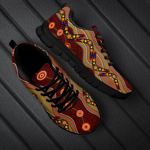 1stAustralia Sneakers - Aboriginal Dot Painting Shoes Boomerang Patterns - Unisex - BN15