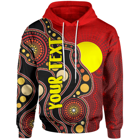 [Custom] 1stAustralia Aboriginal Kid Hoodie - Australia Indigenous Flag Circle Dot Painting Art (For Kids)