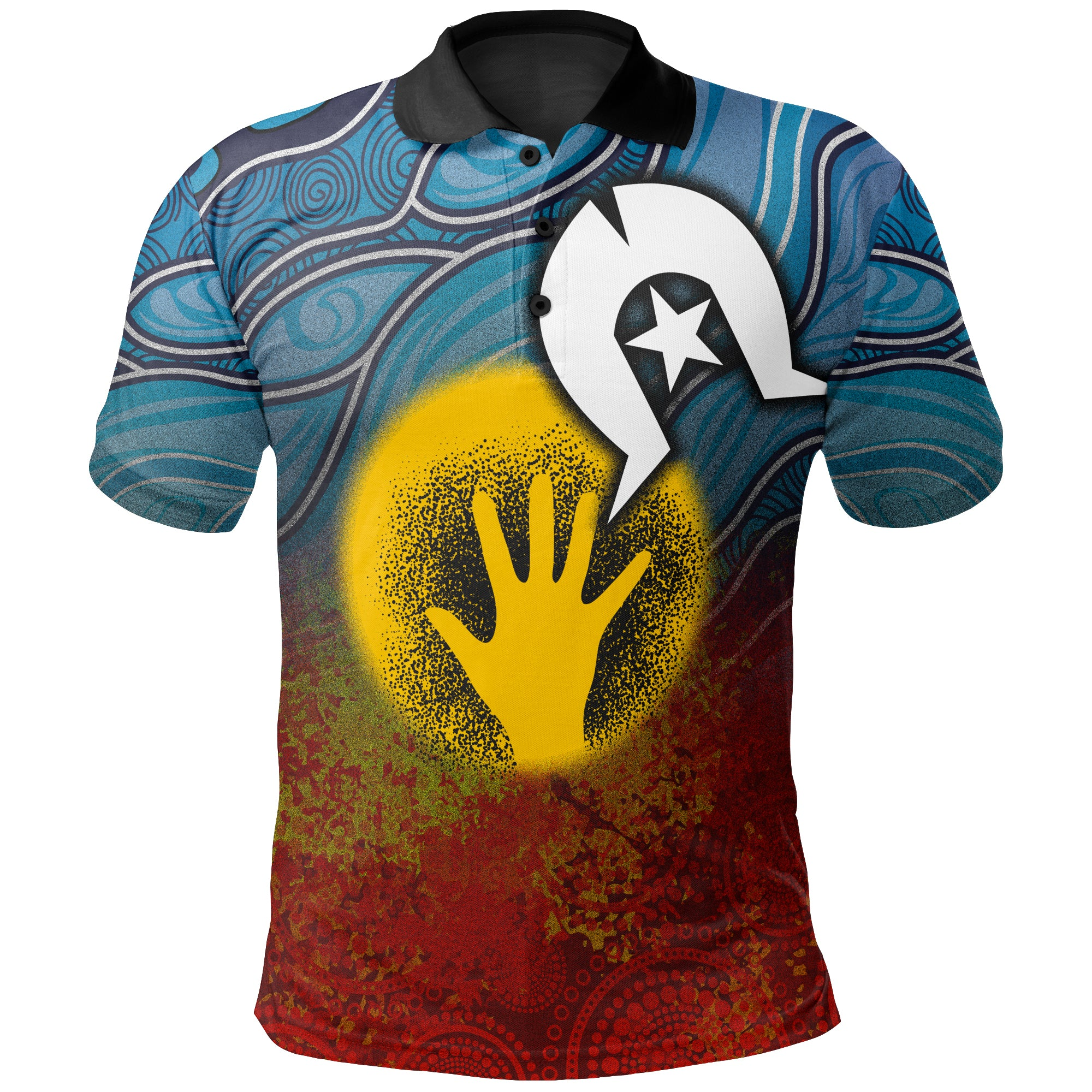[Kids] 1stAustralia Aboriginal Kid Polo Shirt - Aboriginal and Torres Strait Islanders Flag