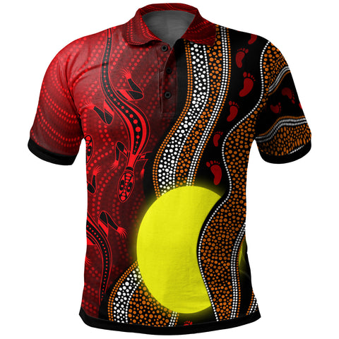 1stAustralia Aboriginal Polo Shirt, Aboriginal Flag Lizard Dot Painting Style