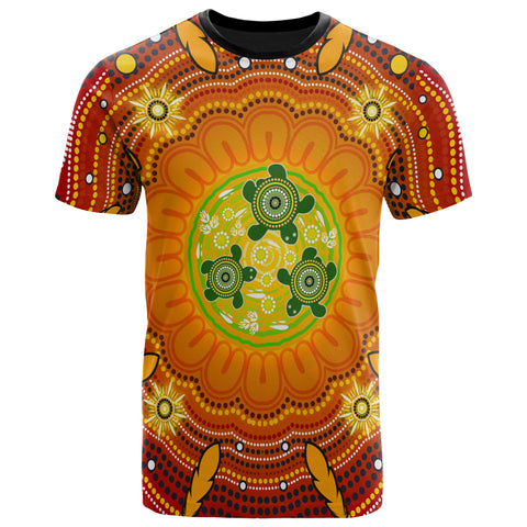 1stAustralia Aboriginal T-Shirts , Turtle Circle Dot Painting Art