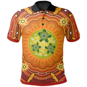1stAustralia Aboriginal Kid Polo Shirt - Turtle Circle Dot Painting Art