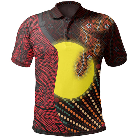 1stAustralia Aboriginal Kid Polo Shirts - Indigenous Snake Sun Dot Painting