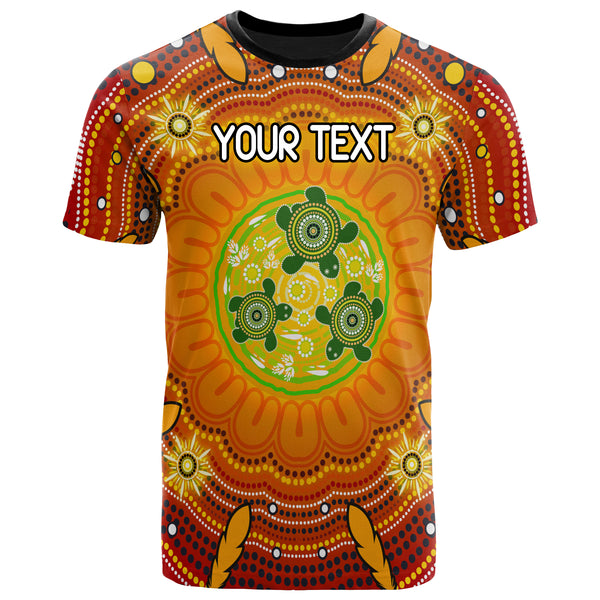 [Custom Text] 1stAustralia Aboriginal T-shirts - Turtle Circle Dot Painting Art