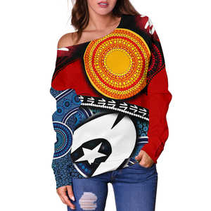 1stAustralia Off Shoulder Sweater - Australian NAIDOC Aboriginal and Torres Strait Island Flags - Bn19