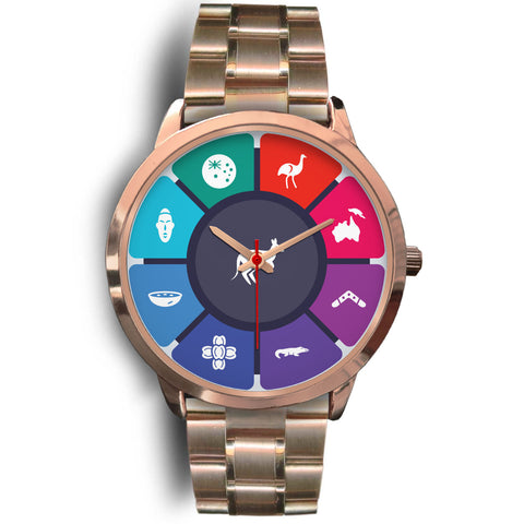 Australia Rose Gold Watch Symbols