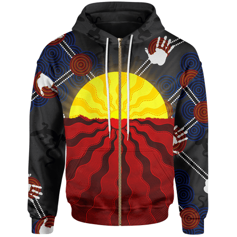 1stAustralia Aboriginal Kid Zip-Up Hoodie, Australia Indigenous Flag Sun Dot Painting(For Kid)