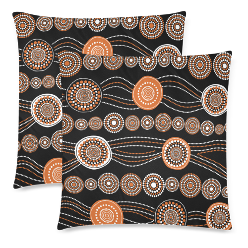1stAustralia Pillow Covers - Aboriginal Dot Painting Pillow Ver03 Covers