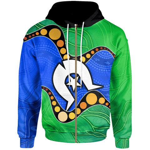 1stAustralia Torres Strait Islands Zip-up Hoodie -  Flag with Aboriginal Patterns