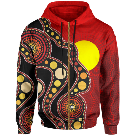 1stAustralia Aboriginal Kid Zip-up Hoodie, Australia Indigenous Flag Circle Dot Painting Art (For Kids)
