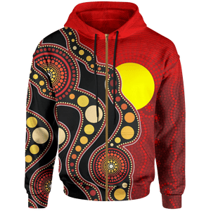 1stAustralia Aboriginal Zip-up Hoodie, Australia Indigenous Circle Dot Painting Art
