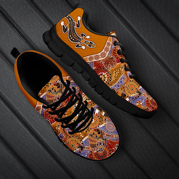 1stAustralia Sneakers - Aboriginal Animal Shoes Lizard Boomerang Patterns - Unisex - BN14