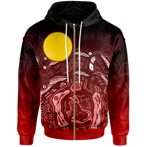 1stAustralia Aboriginal Zip-up Hoodie - Red Landscape