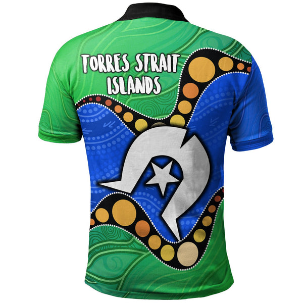 1stAustralia Torres Strait Islands Polo Shirt -  Flag with Aboriginal Patterns