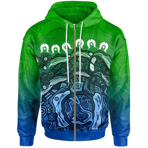 1stAustralia Torres Strait Islands Zip-up Hoodie - Blue Ocean