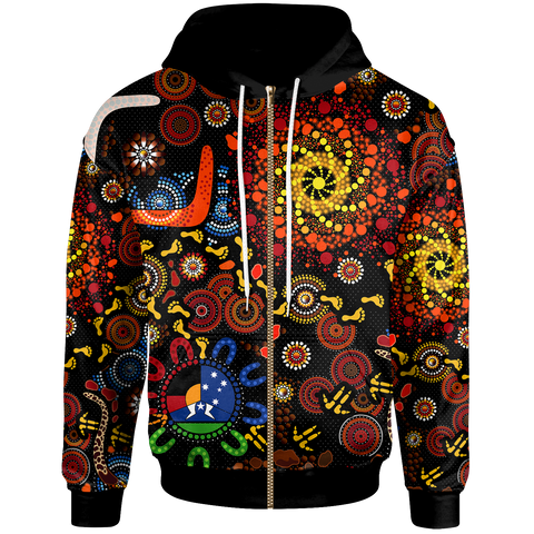 1stAustralia Aboriginal Zip-Up Hoodie - Indigenous Footprints