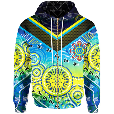 1stAustralia Aboriginal Zip-up Hoodie - Dot Painting Indigenous Circle Patterns - BN18