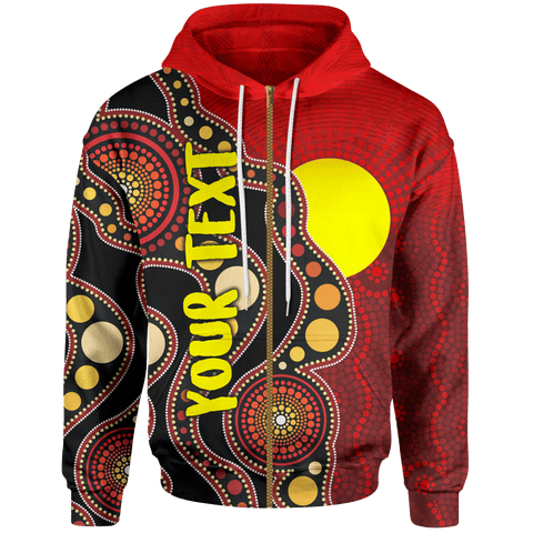 [Custom] 1stAustralia Aboriginal Zip-up Hoodie, Australia Indigenous Flag Circle Dot Painting Art
