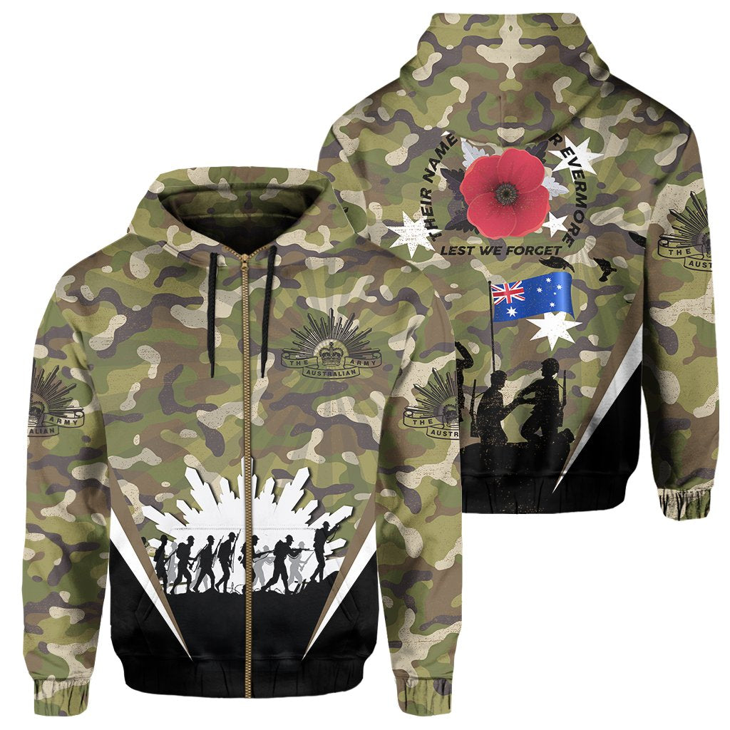 Australia Zipper Hoodie Anzac Day Lest We Forget - Army Style
