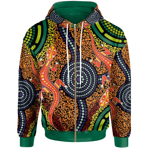 1stAustralia Aboriginal Zip-Up Hoodie - Aboriginal Two Lizards Dot Painting Circle