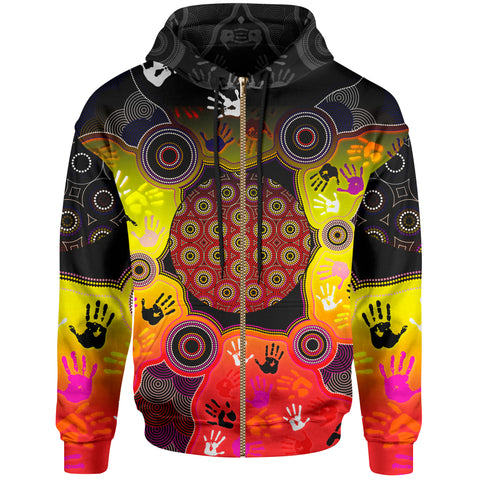 1stAustralia Aboriginal Zip-up Hoodie, Indigenous Circle Dot Painting Hand Art