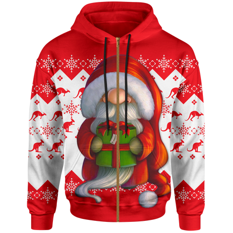 Australia Christmas Hoodie (Zip-up) - Christmas Gnome