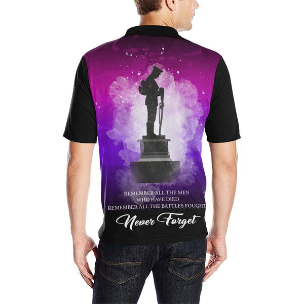 Never Forget Australia Anzac Polo with Purple mix Black color - Back - For Men