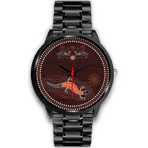 1stAustralia Aboriginal Watch, Lizard Watch Kangaroo Patterns Black Watch